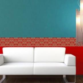 Een versiering op de muur met behangranden