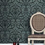 Grijs-Zwart barok behang