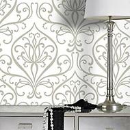 Barok behang wit-grijs