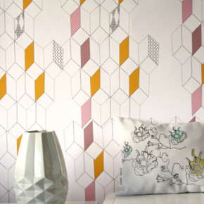 Behang met een mix van bloemen en grafisch, minimalistisch en poëtisch