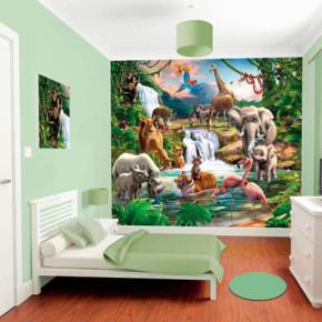 Een kinder-themakamer in junglestijl